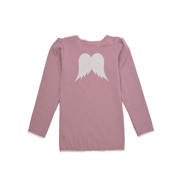 WoolLand Norway - Bergen Merino Wool Girls Jumper Pink Blush (back)
