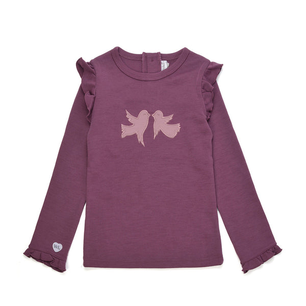 WoolLand Norway - Alesund Merino Wool Girl's Jumper with Birds Raspberry (front)