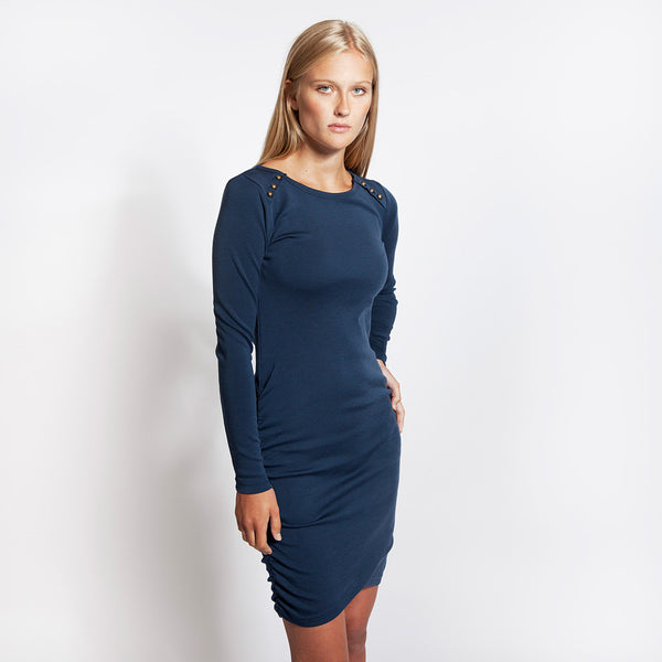 WoolLand Norway - Bukkehoi Merino Wool Womens Dress - Night Blue (2)
