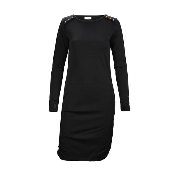 WoolLand Norway - Bukkehoi Merino Wool Womens Dress Black (Front)