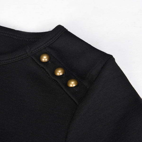 WoolLand Norway - Bukkehoi Merino Wool Womens Dress Black (Button Detail)