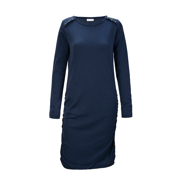 WoolLand Norway - Bukkehoi Merino Wool Womens Dress Night Blue (Front)