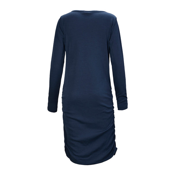 WoolLand Norway - Bukkehoi Merino Wool Womens Dress Night Blue (Back)