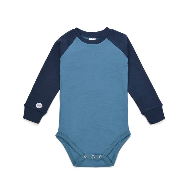 WoolLand Norway - Hamar Merino Wool Baby Grow - Sea Blue (Front)