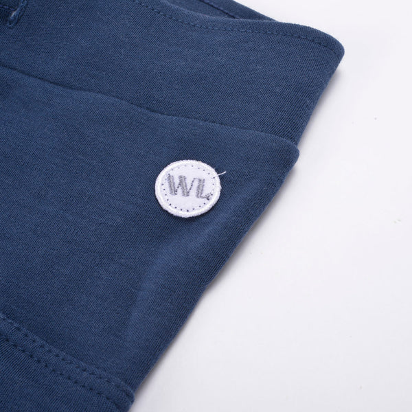 WoolLand Norway - Hamar Merino Wool Boy's Pants (9 - 14 Yrs) - Night Blue (pocket and logo detail)