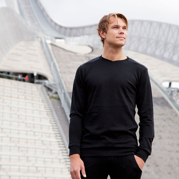 WoolLand Norway - Hokksund Merino Wool Mens Jumper - Andreas Mikkelsen - Pure Black (1)