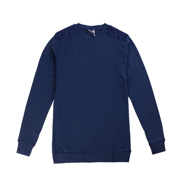 WoolLand Norway - Hokksund Merino Wool Men's V-Neck Jumper - Night Blue (front)