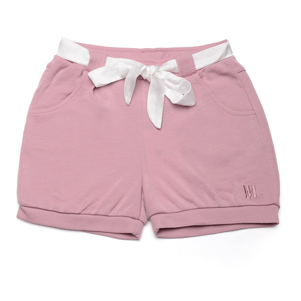 WoolLand Norway - Kristiansand Merino Wool Girl's Shorts Pink Blush (front 1)