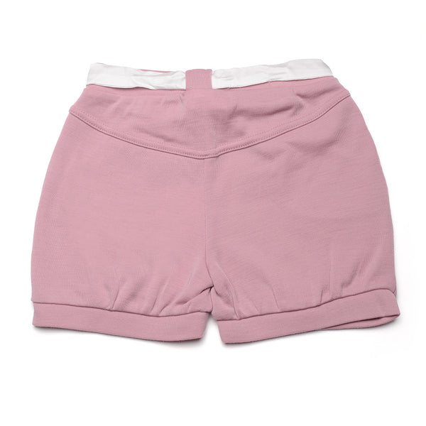 WoolLand Norway - Kristiansand Merino Wool Girl's Shorts Pink Blush (back 1)
