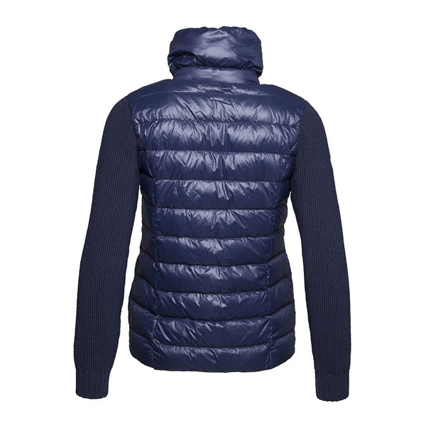 WoolLand Norway Mjosa Women's Merino Wool and Down Jacket Night Blue (back)