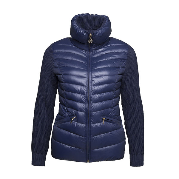 WoolLand Norway Mjosa Women's Merino Wool and Down Jacket Night Blue (front)