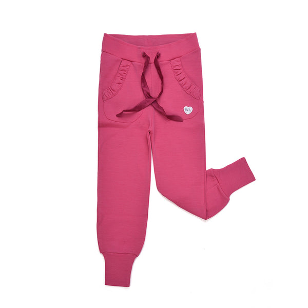 WoolLand Norway - Mysen Merino Wool Girl's Pants (9 - 14 Yrs) - Berry (front)