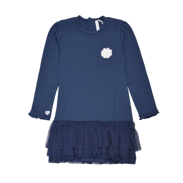 WoolLand Norway - Oslo Merino Wool Girl's Dress Night Blue (front)