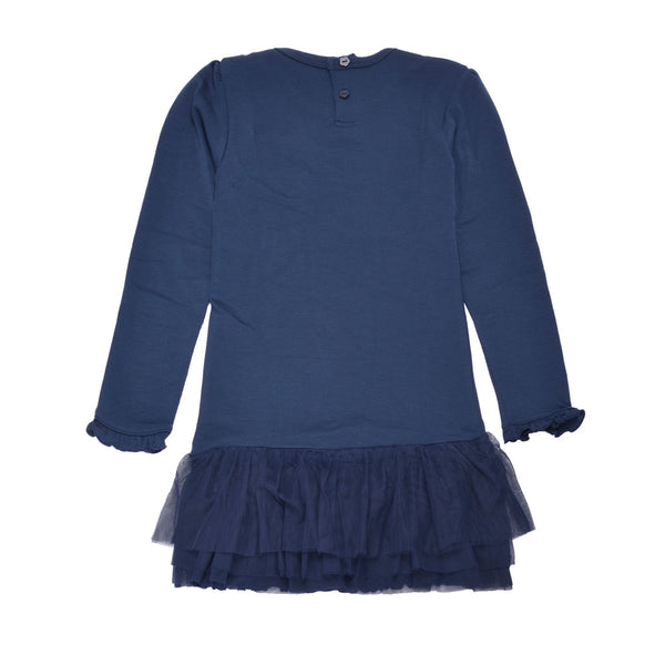 WoolLand Norway - Oslo Merino Wool Girl's Dress Night Blue (back)
