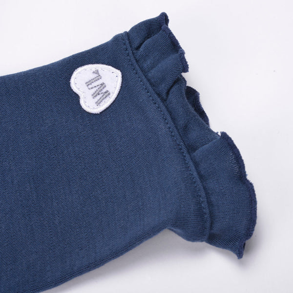 WoolLand Norway - Oslo Merino Wool Girl's Dress Night Blue (sleeve detail)