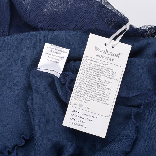 WoolLand Norway - Oslo Merino Wool Girl's Dress Night Blue (label close up)