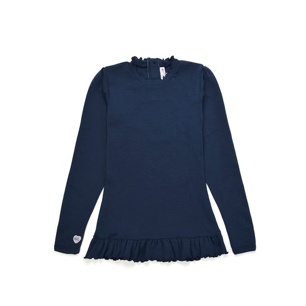 WoolLand Norway - Otta Merino Wool Girl's Long Sleeve Top Night Blue (front)