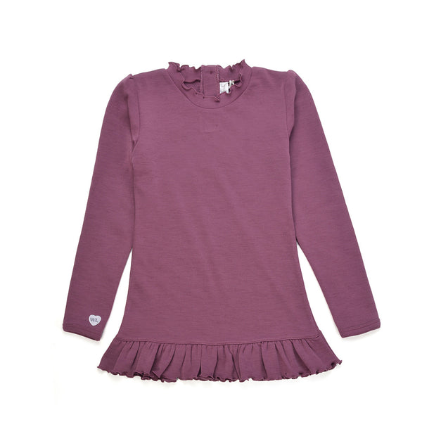 WoolLand Norway - Otta Merino Wool Girl's Long Sleeve Top Raspberry (front)