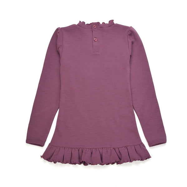 WoolLand Norway - Otta Merino Wool Girl's Long Sleeve Top Raspberry (back)