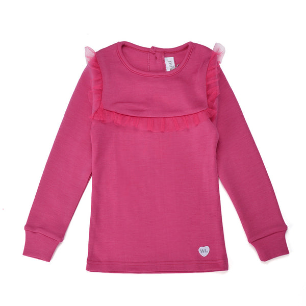 WoolLand Norway - Porsgrunn Merino Wool Girl's Jumper (9 - 14 Yrs) - Berry (front)