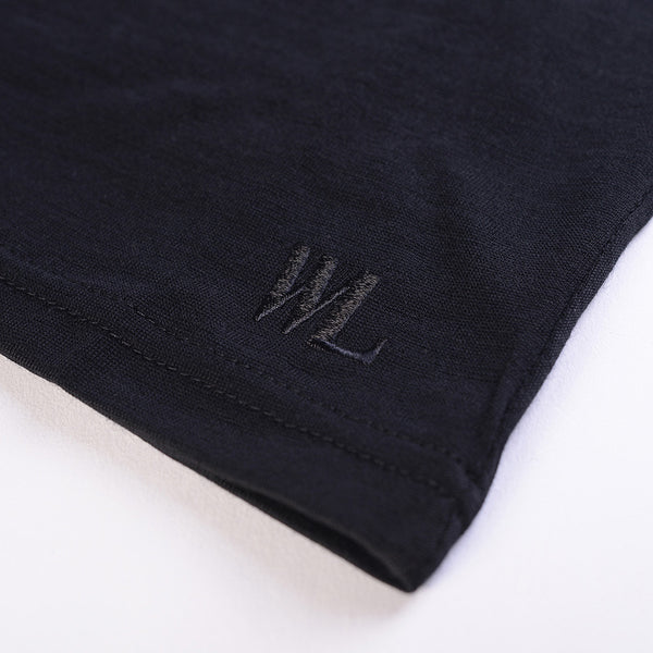 WoolLand Norway - Rondslottet Merino Wool Women's Jumper Pure Black (logo detail)