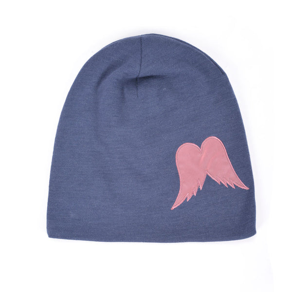 WoolLand Norway - Roros Merino Wool Beanie with Wings - Night Blue