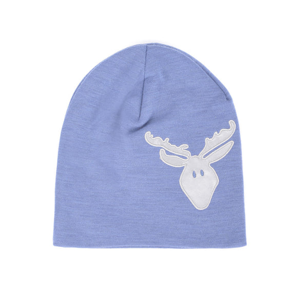 WoolLand Norway - Roros Merino Wool Beanie with Moose - Heavenly Blue
