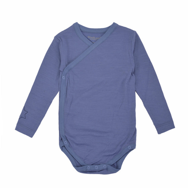 Sarpsborg Merino Wool Baby Boy Base Layer - Heavenly Blue - WoolLand Norway (front)