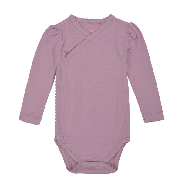 Sarpsborg Merino Wool Baby Girl Base Layer - Pink Blush - WoolLand Norway (front)