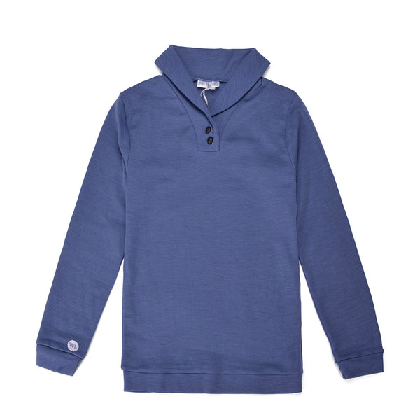 WoolLand Norway - Stord Merino Wool Boy's Shawl Collar Jumper (9 - 14 Yrs) - Heavenly Blue (front)