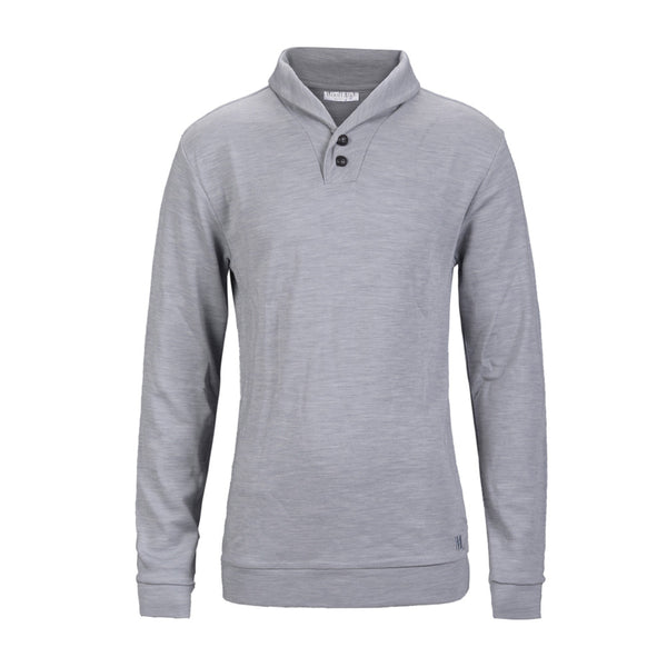 WoolLand Norway - Stord Merino Wool Men's Shawl Collar Jumper Light Grey (front)