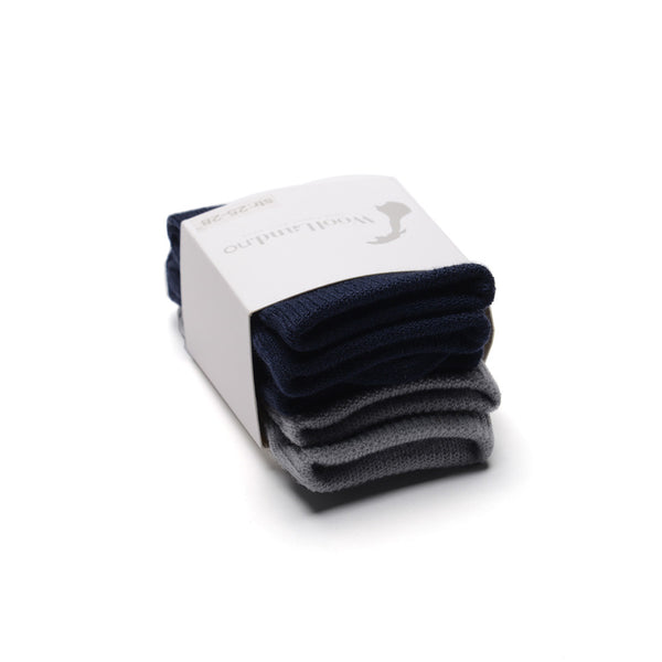 WoolLand Norway - Svelvik Merino Wool Socks - Night Blue Three Pack (3)