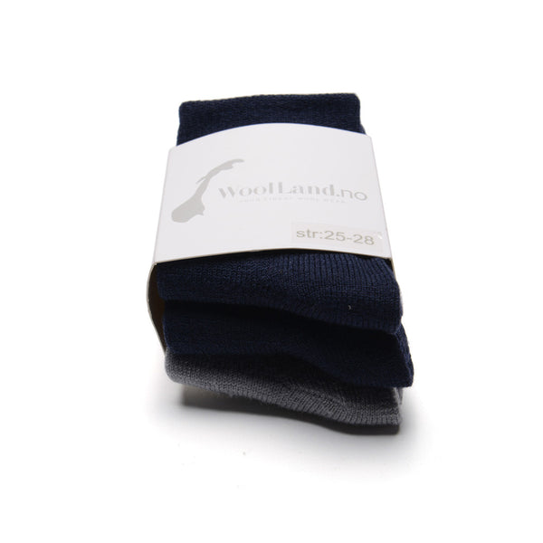 WoolLand Norway - Svelvik Merino Wool Socks - Night Blue Three Pack (2)
