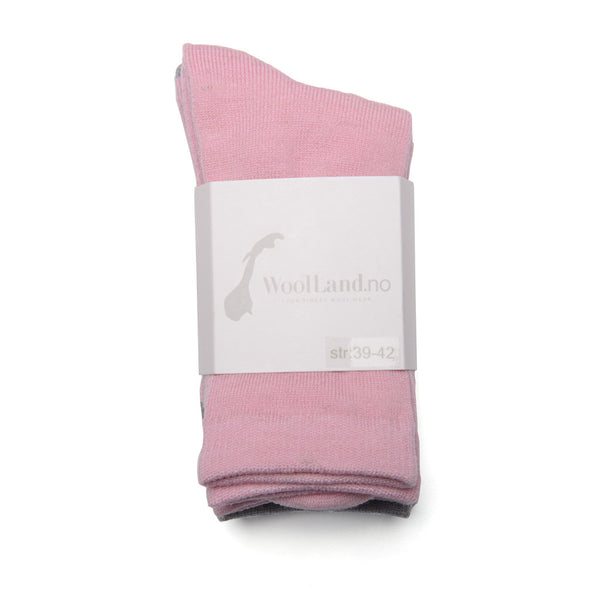 WoolLand Norway - Svelvik Merino Wool Socks - Pink Blush Three Pack (1)