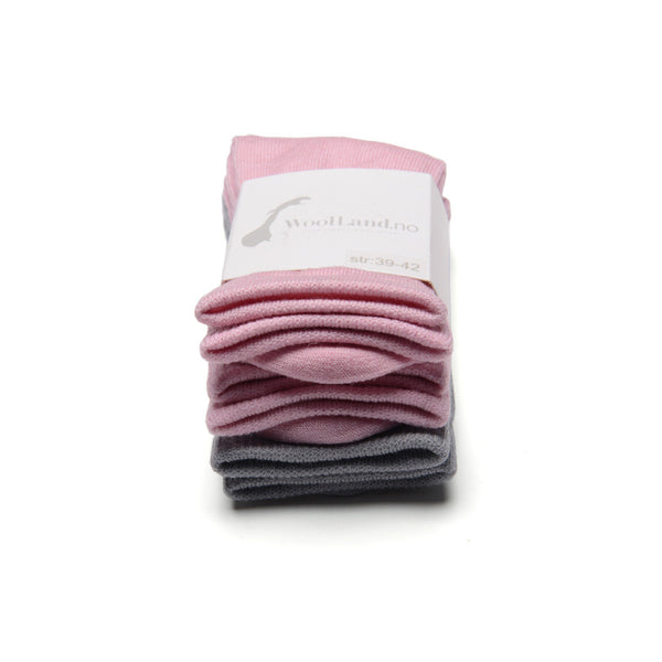 WoolLand Norway - Svelvik Merino Wool Socks - Pink Blush Three Pack (3)