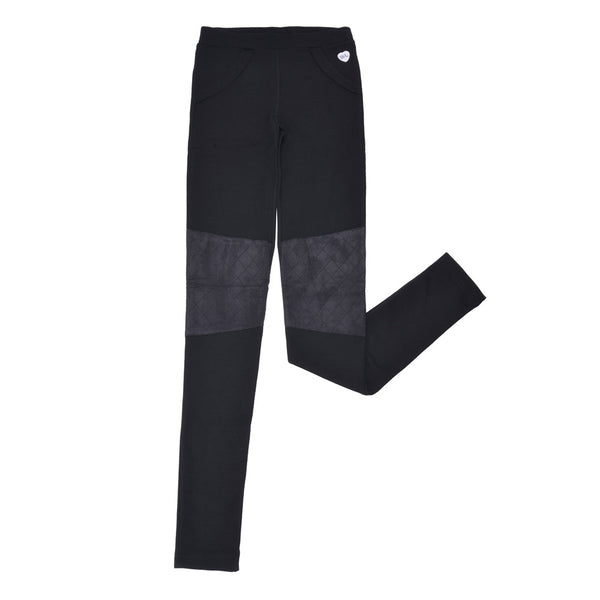 WoolLand Norway - Tønsberg Merino Wool Girl's Tights (9 - 14 Yrs) - Pure Black (front)