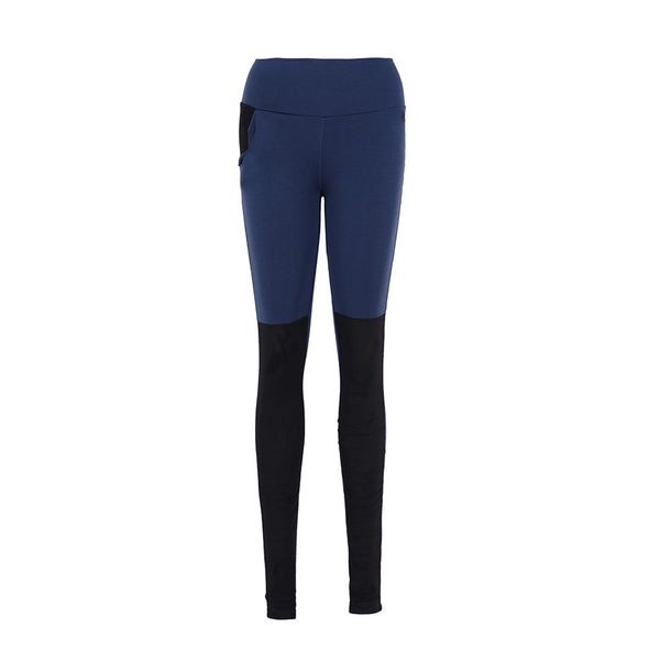 WoolLand Norway - Trollveggen Merino Wool Women's Tights Night Blue (front)