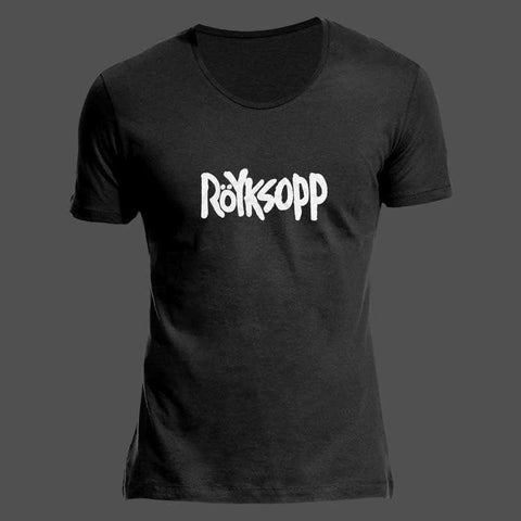 ROYKSOPP LOGO SCOOPED NECK BLACK T-SHIRT