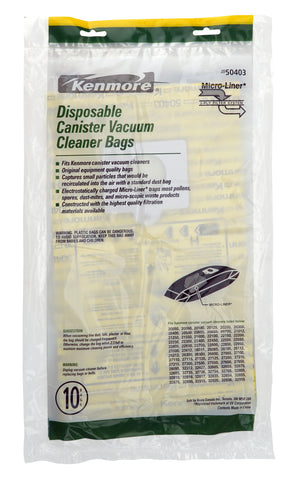 Kenmore Disposable Canister Vacuum Cleaner Dust Bags 50403, 10-Count