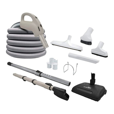 Central Vacuum Accessory Kit - AirStream DS1601 Electric Power Nozzle - 30 ft Hose - Telescopic Wand