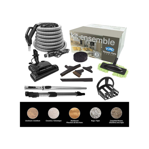Central Vacuum Accessory Kit - Silver 30 ft hose with Deluxe Tool Set