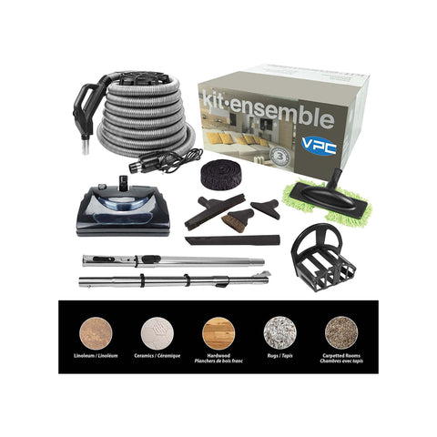 Central Vacuum Accessory Kit - 30ft Hose with Electric Power Nozzle and Deluxe Tool Set