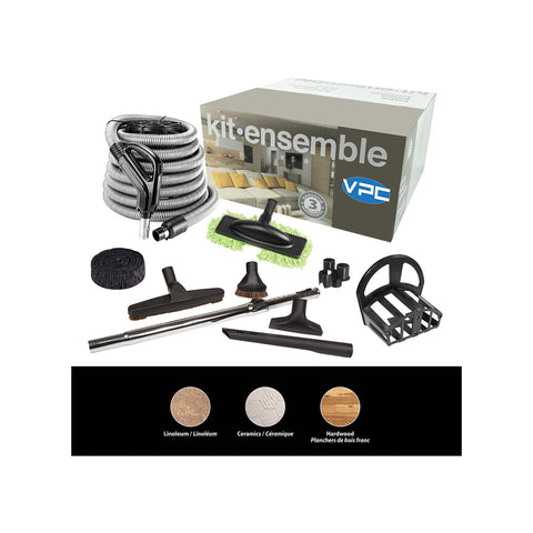 Central Vacuum Accessory Kit - Silver Hose with Deluxe Tool Set