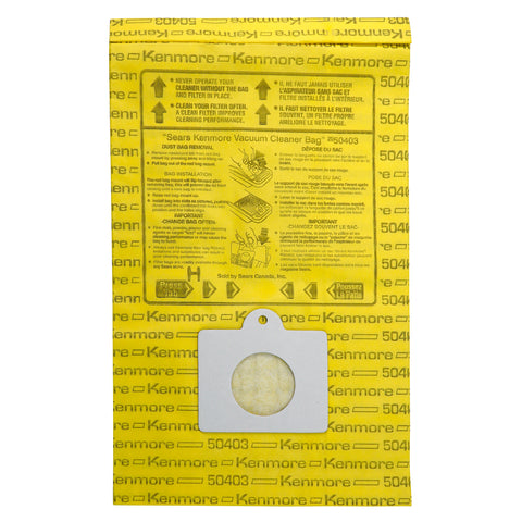 Kenmore Disposable Canister Vacuum Bags 50403