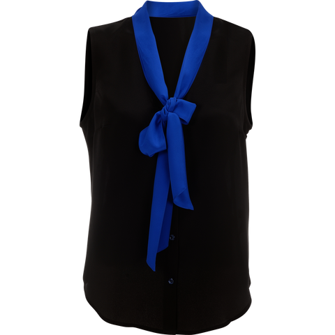 Olivia | Black & blue silk delightful top