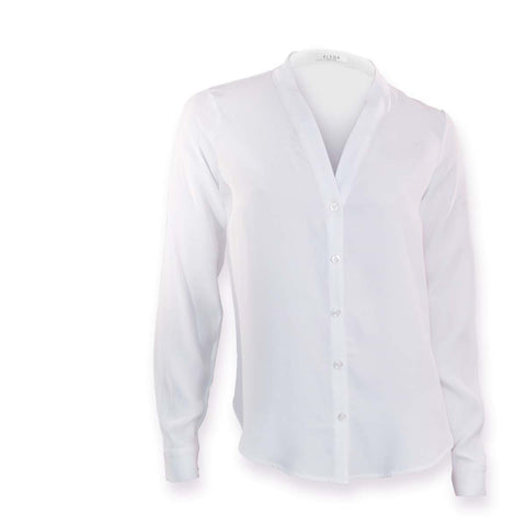 Sofia | White silk v-neck blouse