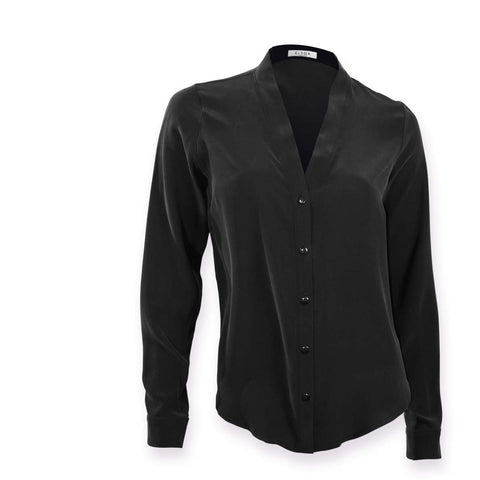 Sofia | Black silk v-neck blouse