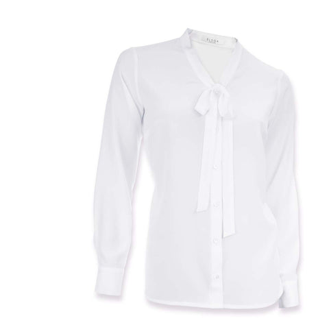 Clara | White silk stylish blouse