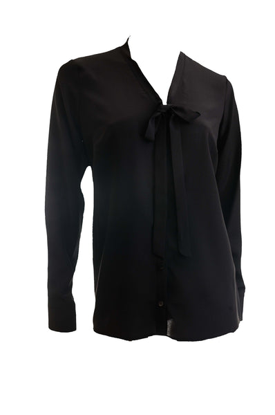 Clara | Black silk stylish blouse