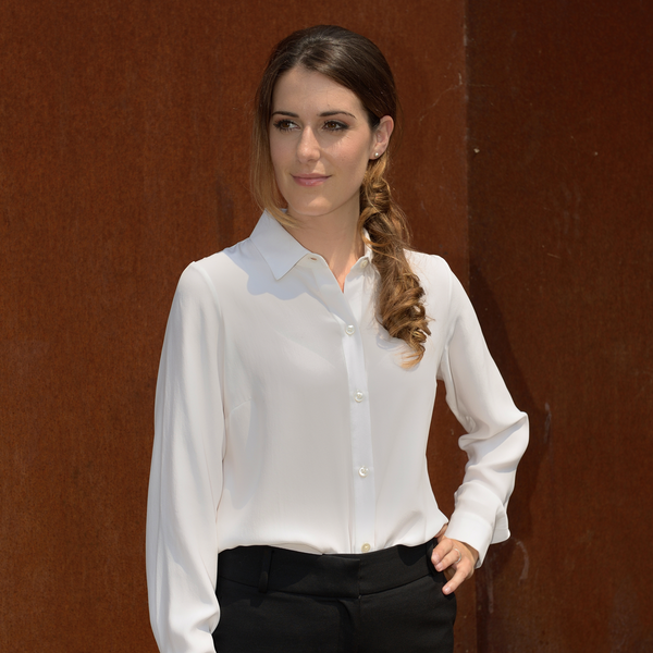 Julia | Almond silk classic shirt